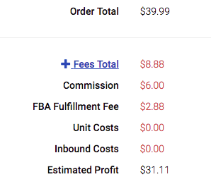 Zonmaster Showing Amazon Fees On Orders
